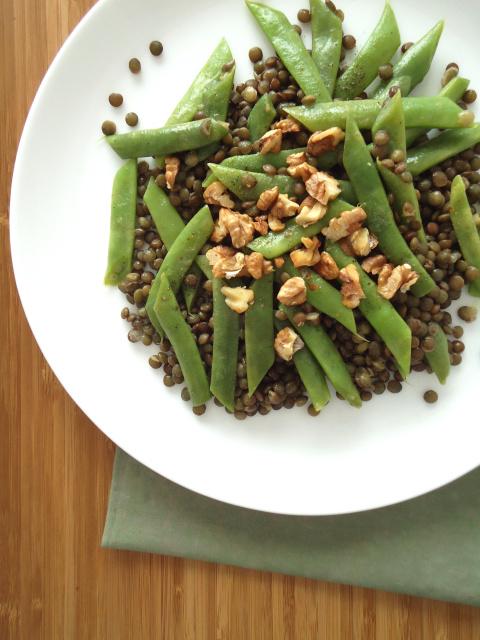 Feijão verde com lentilhas Dupuy e molho de mostarda