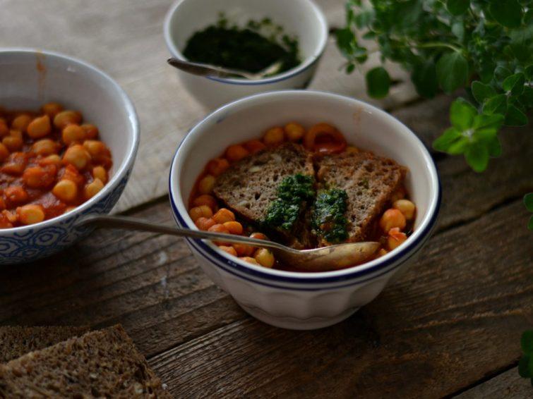 Açorda de grão e tomate
