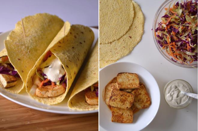 Compassionate Cuisine - Receitas vegetarianas - Tacos de tofu, salada de repolho e molho de caju e limão