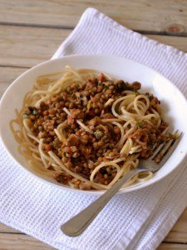 Bolonhesa de lentilhas - Receita Vegetariana