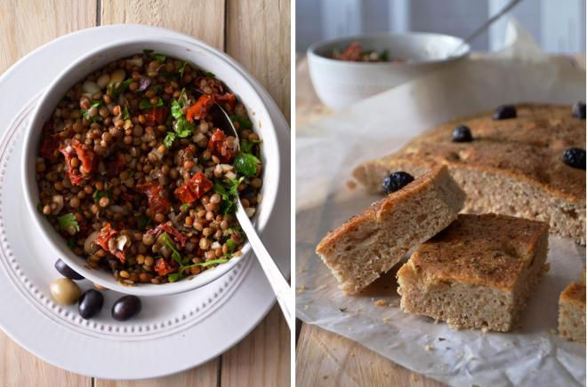 Compassionate Cuisine - Receitas vegetarianas - Salada mediterrânica de lentilhas e foccacia