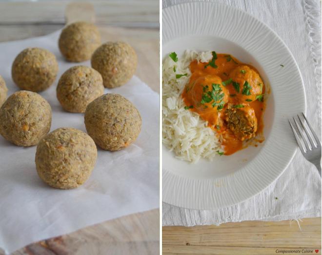 Compassionate Cuisine - Receitas vegetarianas - Almondegas de lentilhas com molho de coco e tomate + Brócolos assados