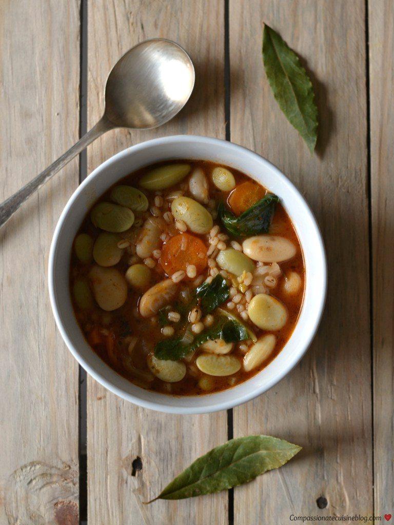 Compassionate Cuisine - Receitas vegetarianas - Sopa de feijoca e cevadinha