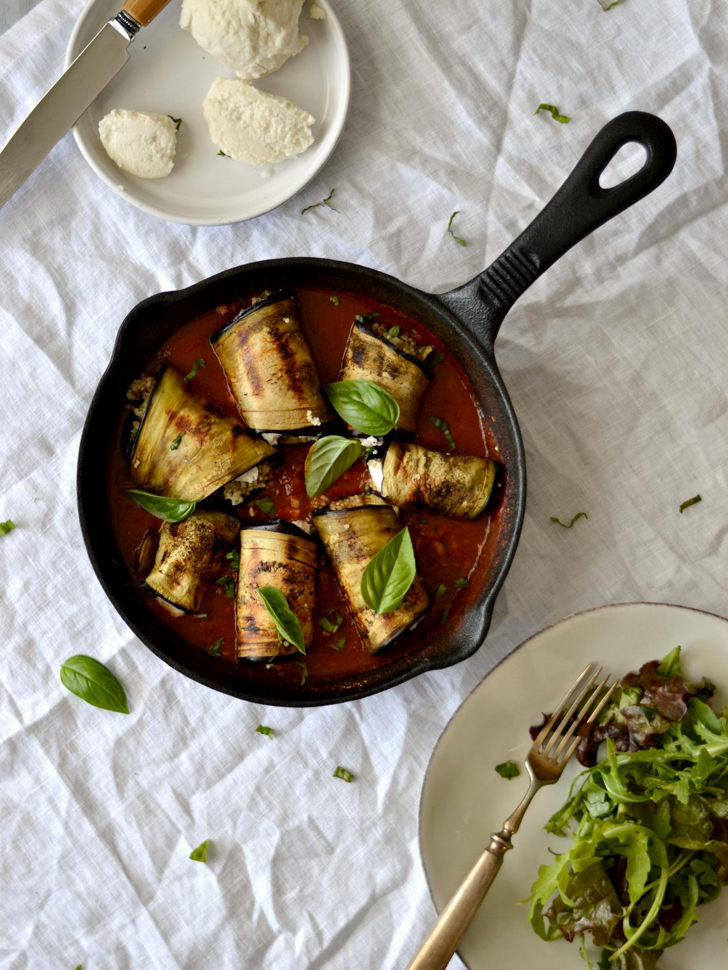 """Rolinhos de Beringela e Quinoa + a minha versão de """"Mozzarella"""" - Receita Vegetariana"""