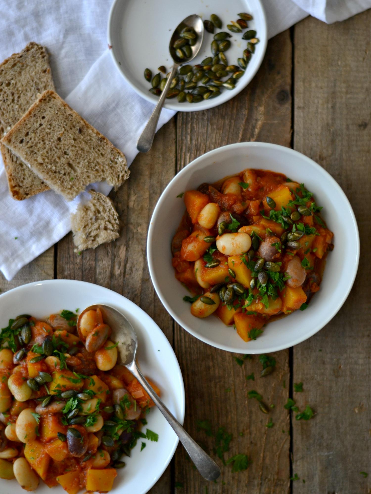 Estufado de Feijoca e Abóbora - Receita Vegetariana