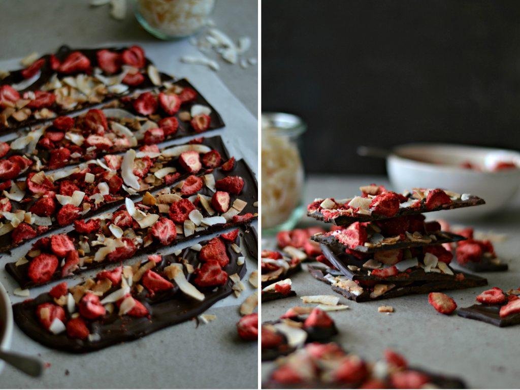 Compassionate Cuisine - Receitas vegetarianas - Chocolate com Morangos Desidratados e Coco