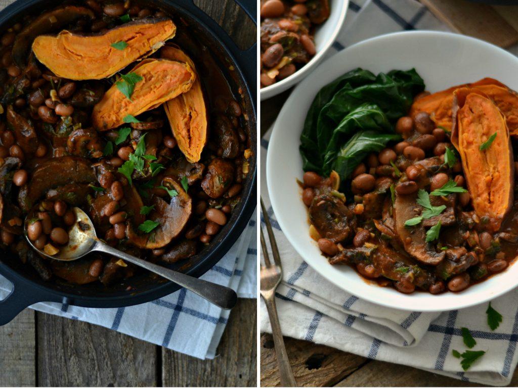 Compassionate Cuisine - Receitas vegetarianas - Feijoada de Feijão Manteiga e Cogumelos com Batata Doce