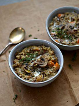 Estufado de lentilhas, arroz selvagem e cogumelos - Receita Vegetariana