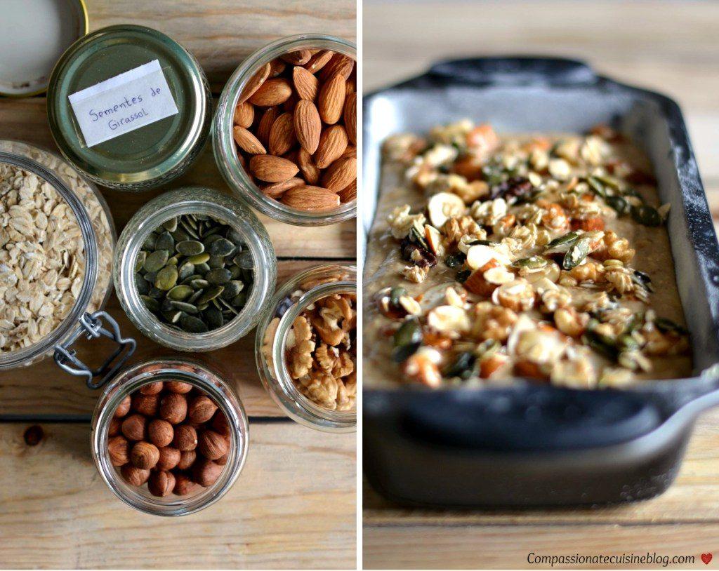 Compassionate Cuisine - Receitas vegetarianas - Bolo de banana e aveia coberto de frutos secos