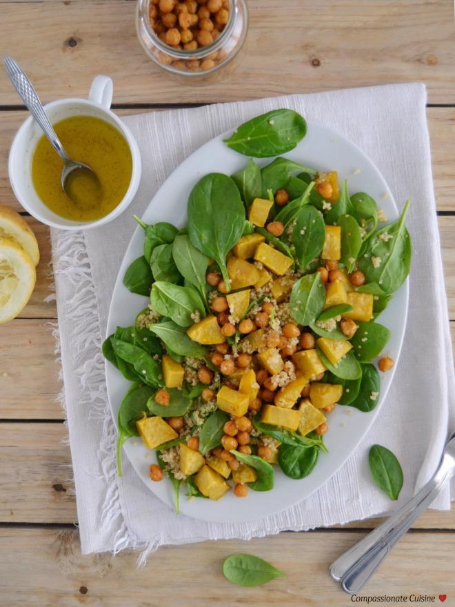 Salada morna outonal com batata doce assada e grão-de-bico crocante - Compassionate Cuisine - Receitas Vegetarianas