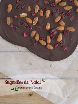 Sugestões de Natal Compassionate Cuisine + Chocolate com amêndoas e cranberries - Receita Vegetariana