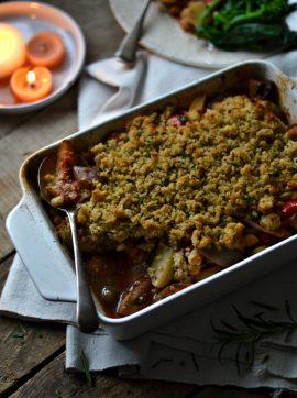 Assado de grão-de-bico com crosta de broa - Receita Vegetariana