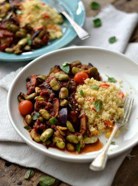 Favas com curgete e cogumelos - Receita Vegetariana