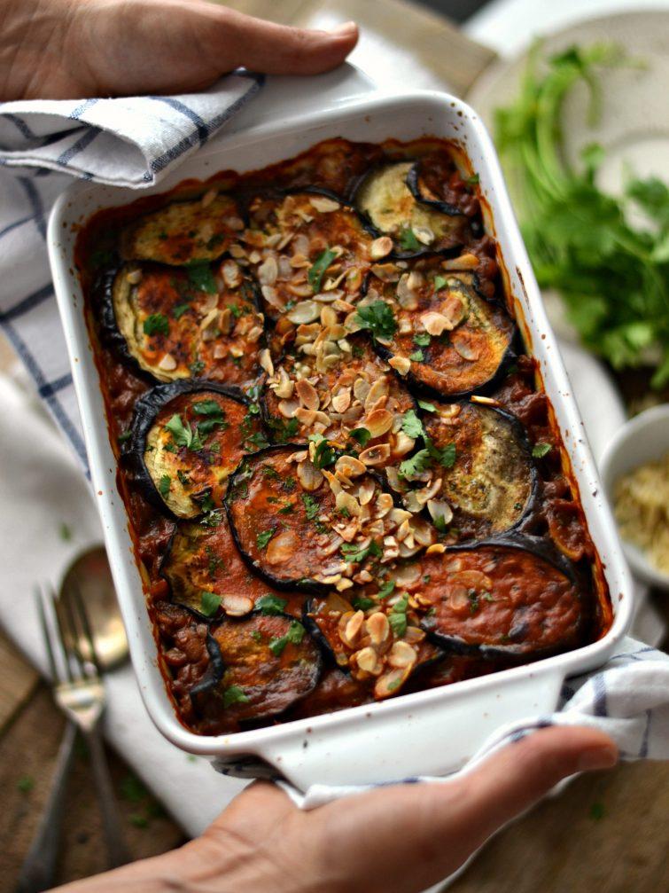Assado de lentilhas e beringela
