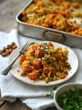 Cuscuz com abóbora e couve-flor assadas - Receita Vegetariana