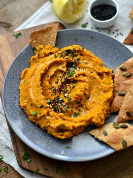 Húmus de cenoura e lentilhas + Crackers de centeio - Receita Vegetariana