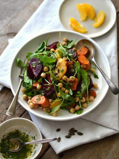 Salada de beterraba, cenoura e laranja